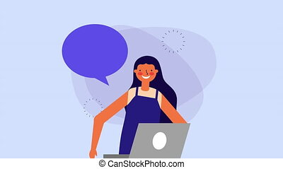 young woman with laptop and speech bubble ,hd video...