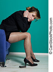 young woman with leopard tights in despair