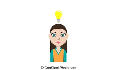 Animation of isolated young woman with lightbulb above the head - representing idea