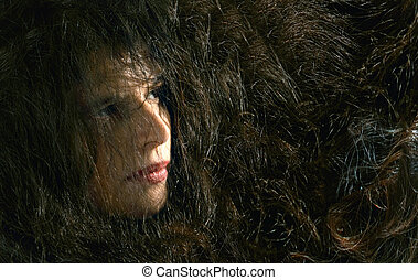 young woman with long black hair