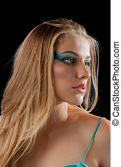 young woman with long blond hair an