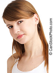 adorable - young woman with long brown hair and adorable...