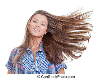 young woman with long healthy hair.