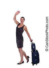 young woman with luggage waving goodbye