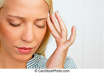 Young woman with migraine headache - Young woman with...