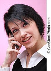 woman with mobile phone close up