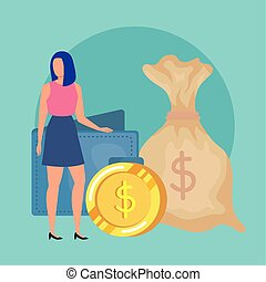 young woman with money bag character