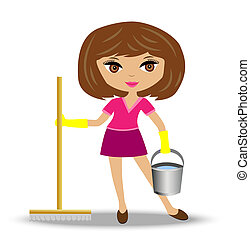 woman with mop and bucket in hand