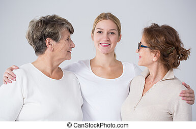 Young woman with mother and grandmother