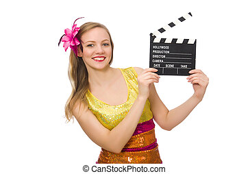 Young woman with movie board isolated on white
