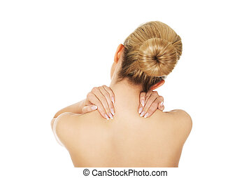 Young woman with nape pain.