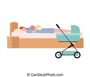 young woman with newborn baby in bed