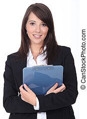 Young woman with notepad on white background