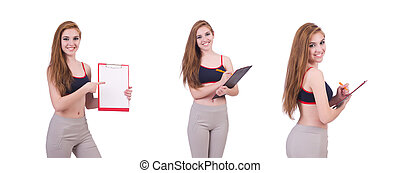 Young woman with notepad writing on white