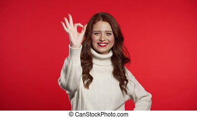 Young woman with perfect make-up making OK sign over background. Winner. Success. Positive girl smiles to camera. Body language.