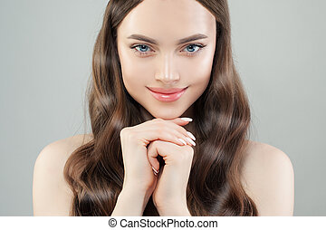 Young woman with perfect skin closeup portrait