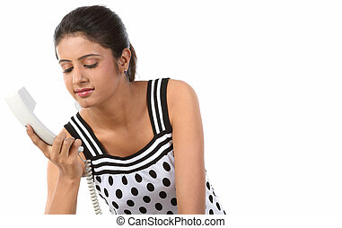 woman with phone receiver