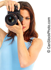 woman with photo camera