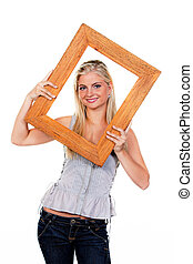 Young Woman with Picture Frame Around Face