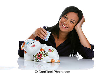 Young woman with piggy bank and euro bank notes