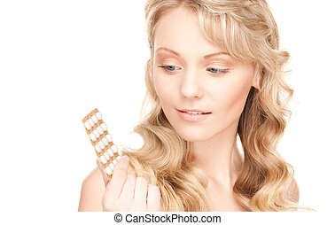 young woman with pills - picture of young woman with pills...