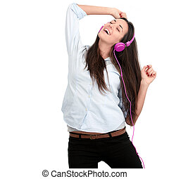 Young woman with pink headphones.