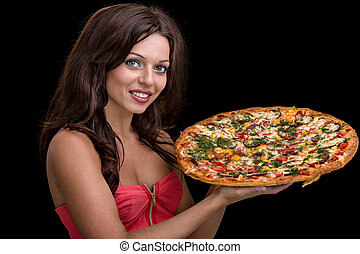 young woman with pizza against black background