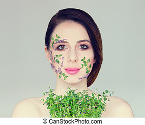 young woman with plant