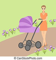 Young woman with pram walking in park.