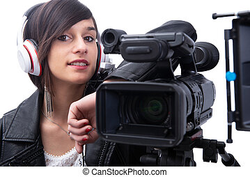 young woman with professional video camera, on white