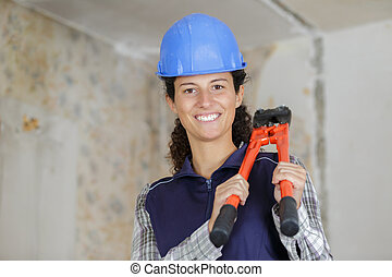 young woman with pruner