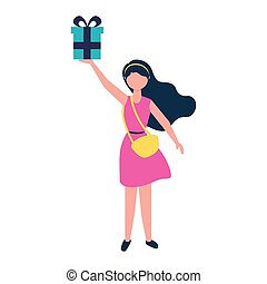 young woman with purse holding gift box