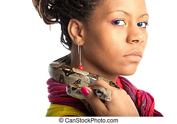 young woman with python