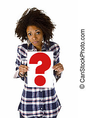 Young woman with question mark