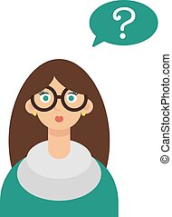 Young woman with question marks vector. Illustration eps10