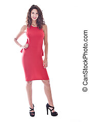 young woman with red dress isolated