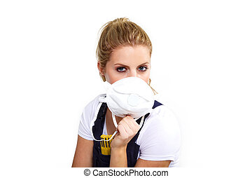 young woman with respirator