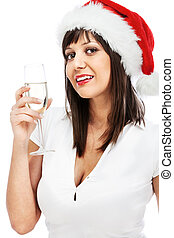 Young woman with santa hat drinking champagne