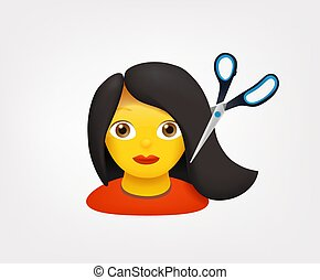 Young woman with scissors vector emoji