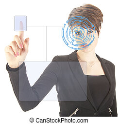 Young woman with security iris and fingerprint scan isolated on white background