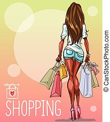 Young woman with shopping bags, background with space for...