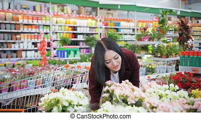 Young woman with shopping cart buying flowers at a garden shop