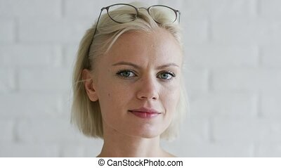 Young woman with short hair and glasses - Lovely young lady...