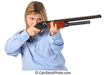 Young woman with shotgun