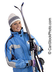 ski - young woman with ski on white background