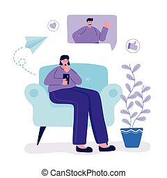 young woman with smartphone sitting on sofa chatting