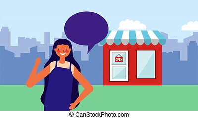 young woman with speech bubble and store building ,hd video...