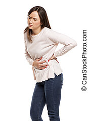 young woman with stomach and kidney pain
