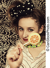 young woman with sugar candy