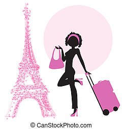 young woman with suitcase in Paris, illustration in vector...